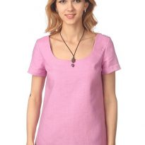 Фото 3 - Блуза льняная с коротким рукавом.