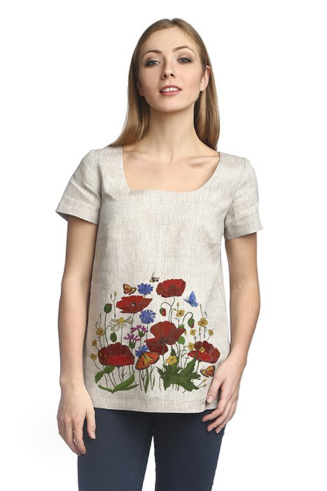 Блуза льняная с коротким рукавом
