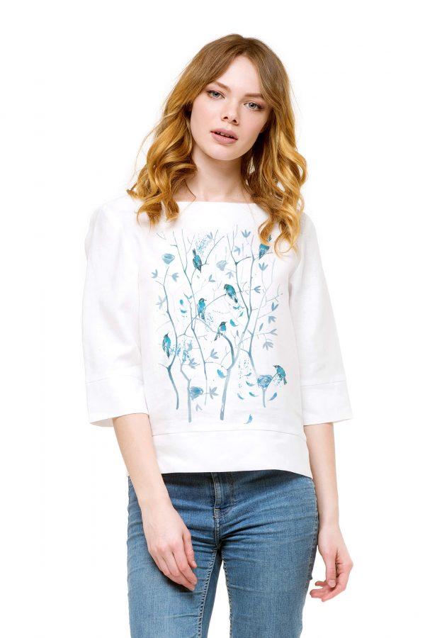 Фото 8 - Блуза льняная прямого силуэта.