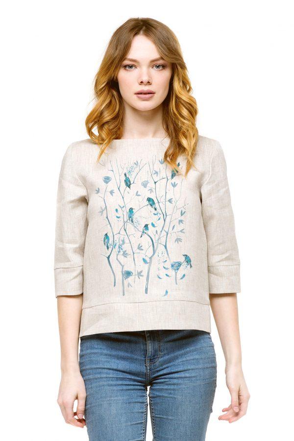 Фото 7 - Блуза льняная прямого силуэта.