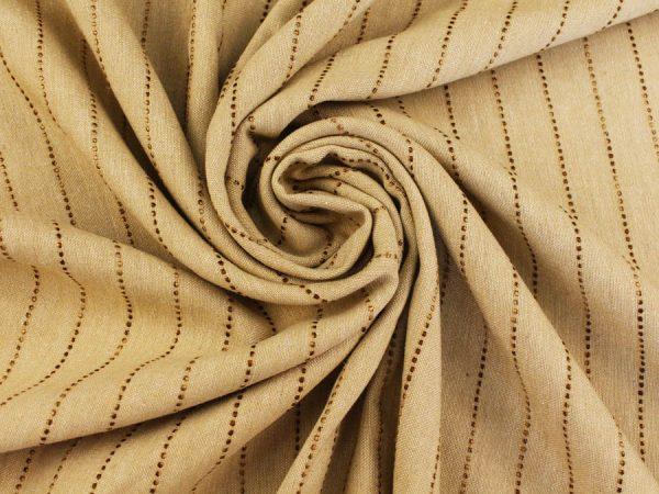 Ткань смесовая костюмная в полоску, песочного цвета