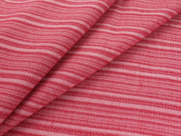 Фото 3 - Ткань смесовая костюмная розовая в полоску.