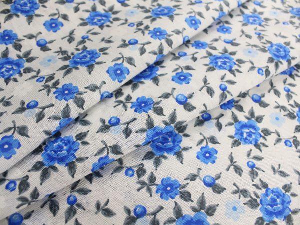 """Фото 3 - Ткань плательная """"голубые  цветы""""."""