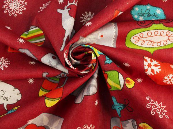 "Фото 4 - Бязь ""Рождество"" красная."