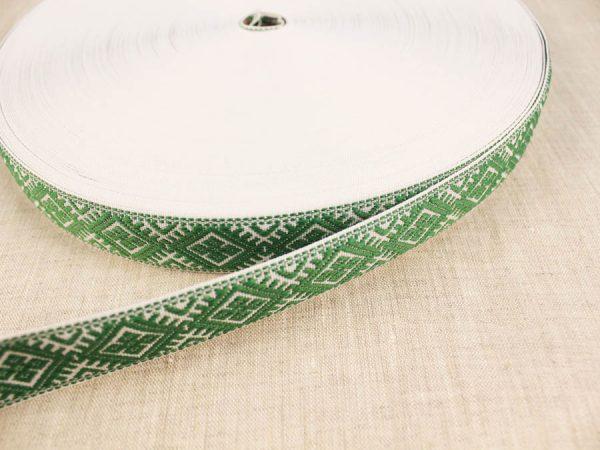 Фото 4 - ЛЕНТА ОТДЕЛОЧНАЯ ЖАККАРД белый с зеленым 25мм.