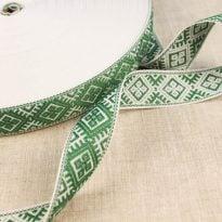 Фото 13 - ЛЕНТА ОТДЕЛОЧНАЯ ЖАККАРД белый с зеленым 25мм.
