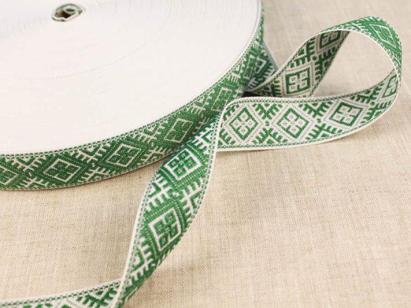 Фото 3 - ЛЕНТА ОТДЕЛОЧНАЯ ЖАККАРД белый с зеленым 25мм.