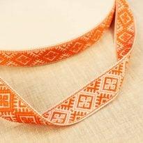 Фото 6 - ЛЕНТА ОТДЕЛОЧНАЯ ЖАККАРД белый с оранжевым 25мм.