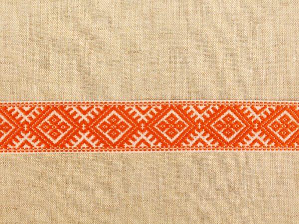 Фото 4 - ЛЕНТА ОТДЕЛОЧНАЯ ЖАККАРД белый с оранжевым 25мм.