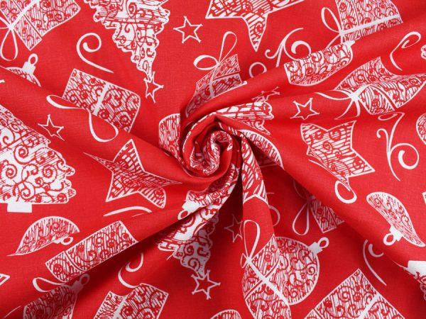 "Фото 4 - Льняная ткань ""Подарок"" красый фон."