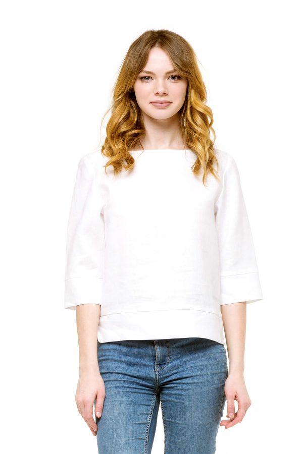 Фото 4 - Блуза льняная прямого силуэта.