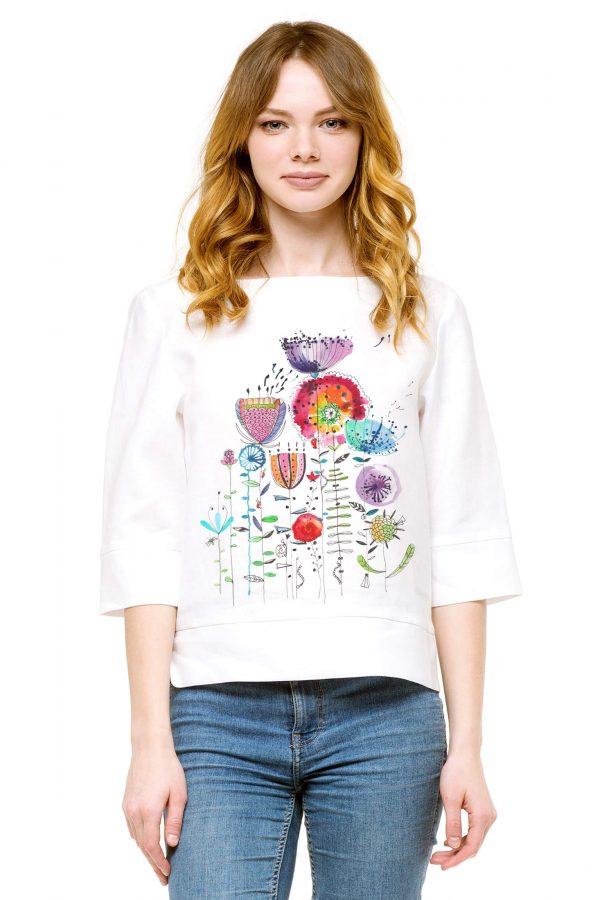 Фото 9 - Блуза льняная прямого силуэта.