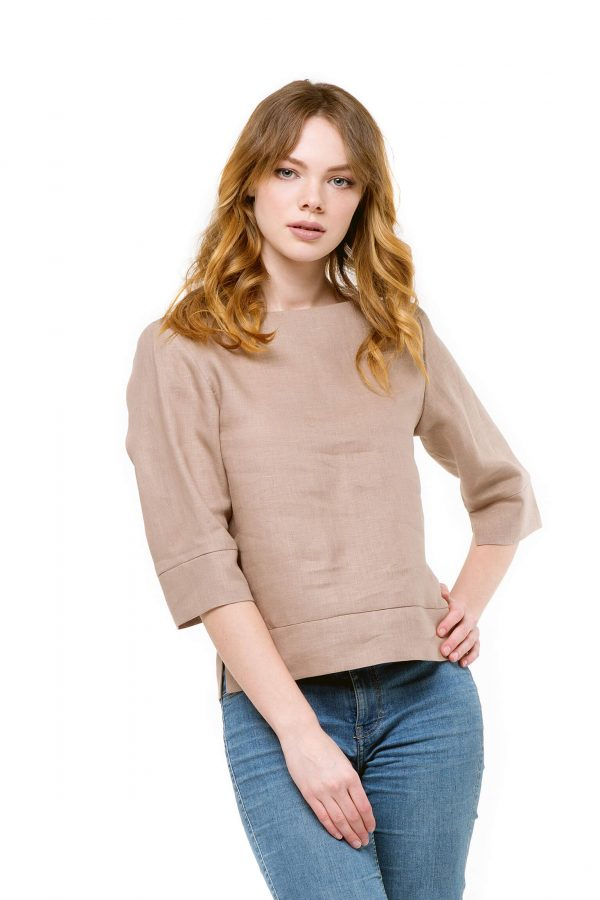 Фото 15 - Блуза льняная прямого силуэта.