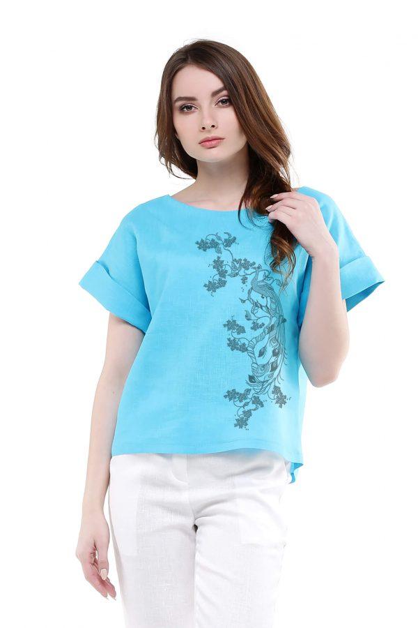 Блуза льняная с отворотами