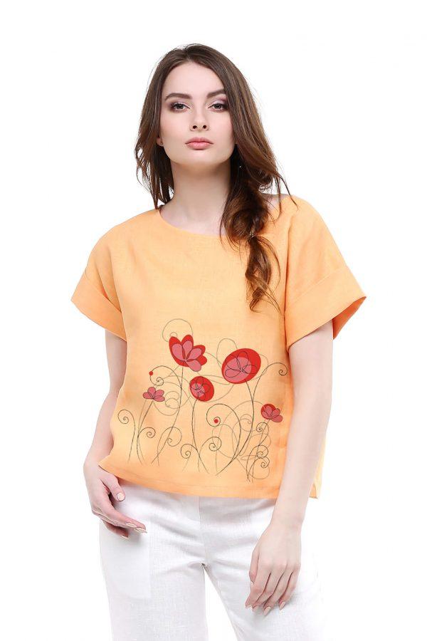Фото 12 - Блуза льняная с отворотами.