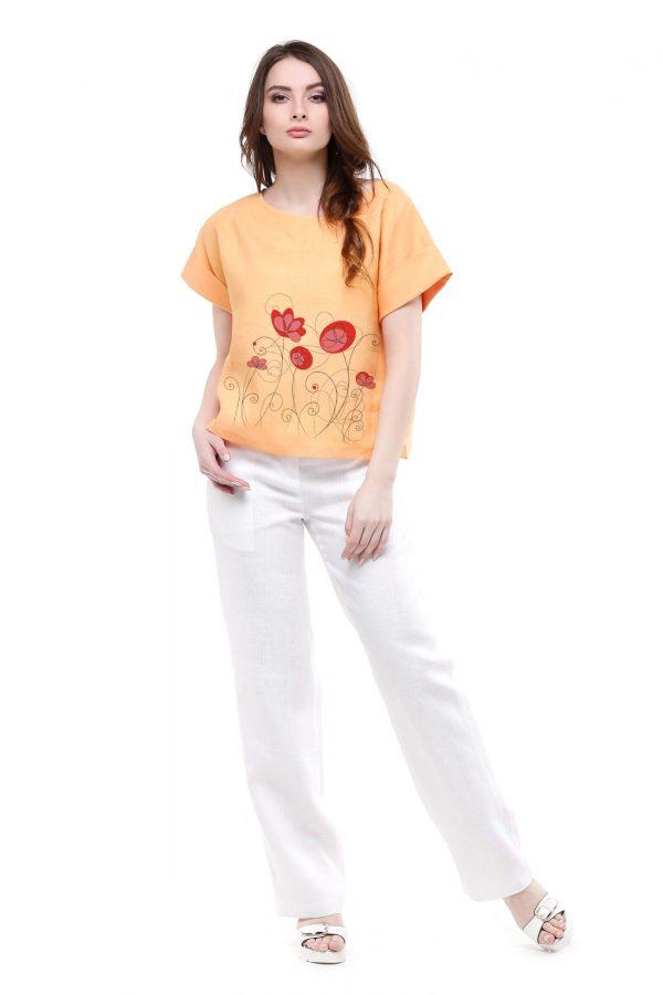 Фото 11 - Блуза льняная с отворотами.