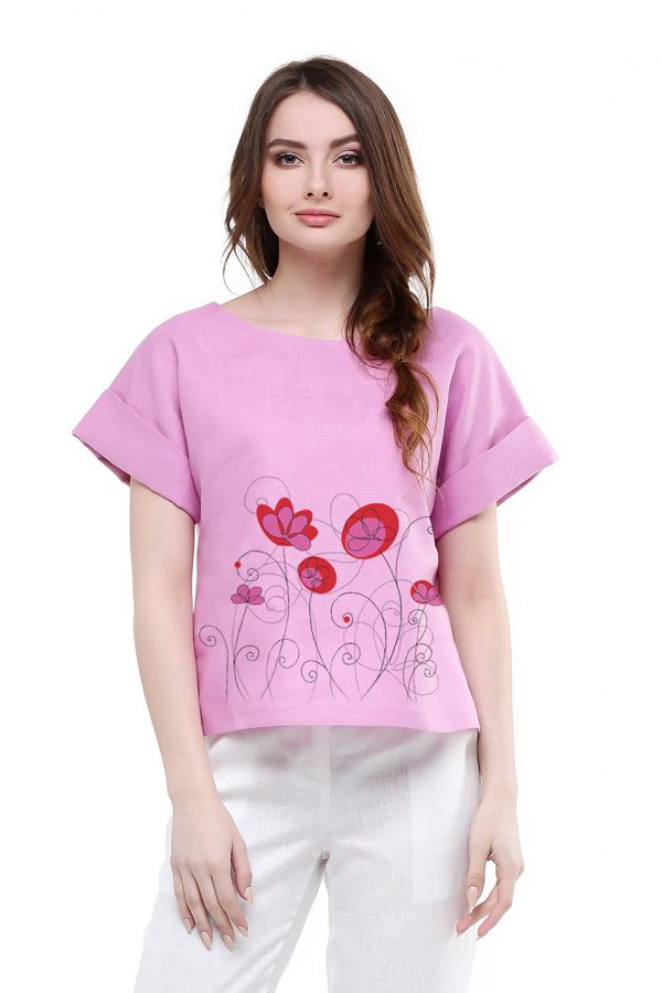Фото 20 - Блуза льняная с отворотами.