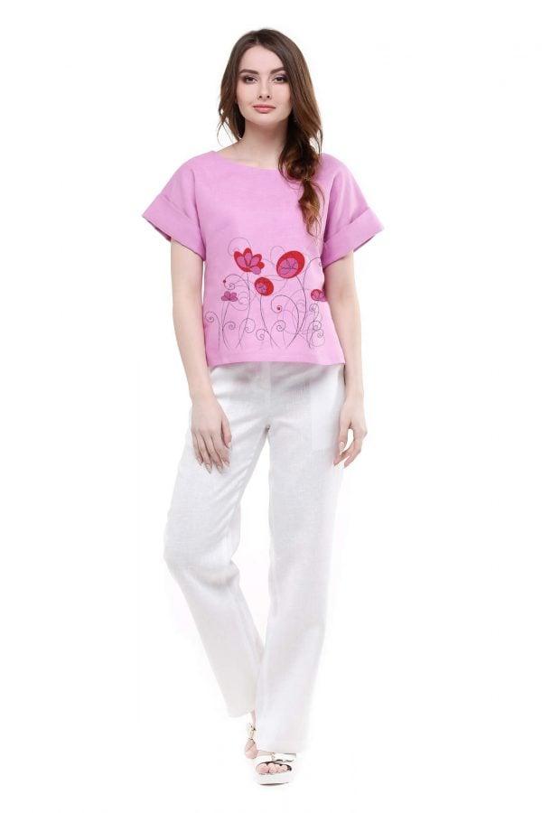 Фото 19 - Блуза льняная с отворотами.