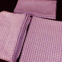 Комплект постельного белья 1,5 спальный, сиреневая клеточка лен 100%