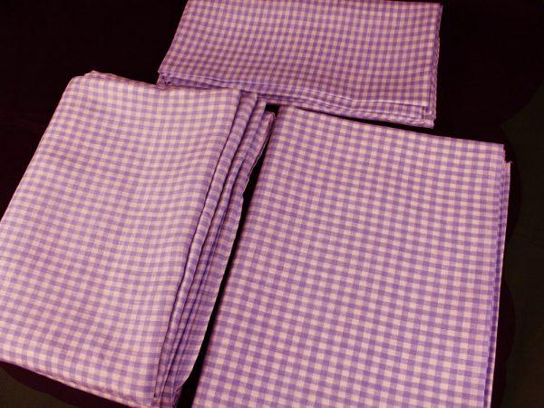 Фото 3 - Комплект постельного белья 1,5 спальный, сиреневая клеточка лен 100%.