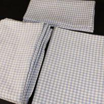 Комплект постельного белья 1,5 спальный, голубая  клеточка лен 100%