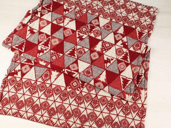 """Фото 4 - Полотенце льняное жаккардовое  """"Лоси"""" цвет красный."""