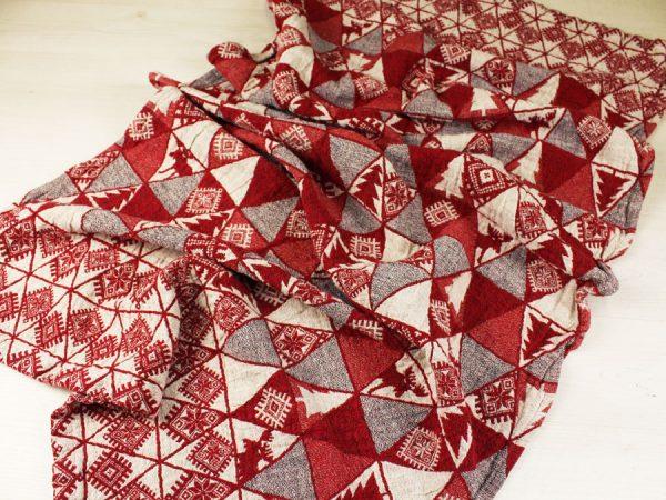 """Фото 5 - Полотенце льняное жаккардовое  """"Лоси"""" цвет красный."""