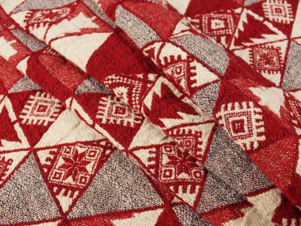 """Фото 3 - Полотенце льняное жаккардовое  """"Лоси"""" цвет красный."""