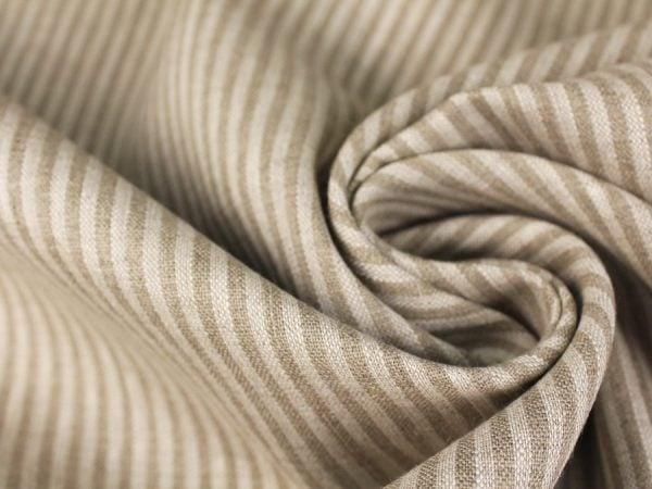 Фото 4 - Льняная ткань в узкую полоску лен 100%.