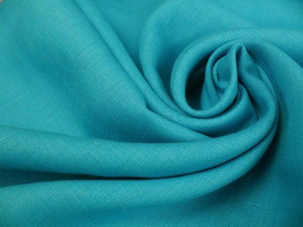 Фото 5 - Ткань умягченная бирюзовая светлая, лен 100%.