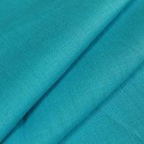 Ткань умягченная бирюзовая светлая, лен 100%