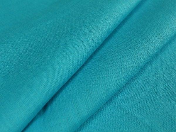 Фото 3 - Ткань умягченная бирюзовая светлая, лен 100%.