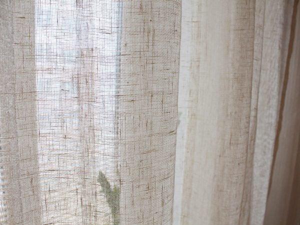 Фото 4 - Шторы льняные (лен 100%) 150*260см  цвет молочный.