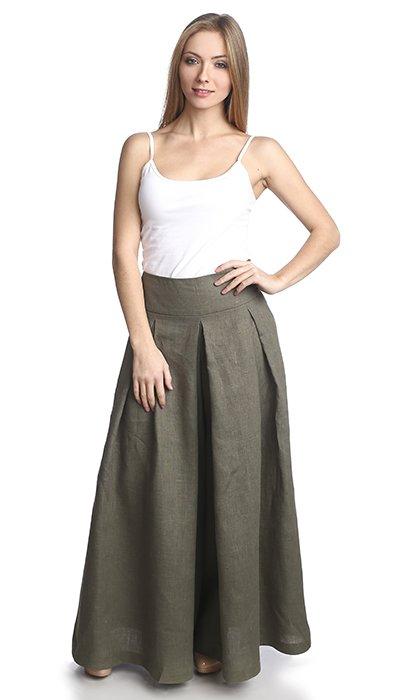 Фото 17 - Юбка-брюки льняная.