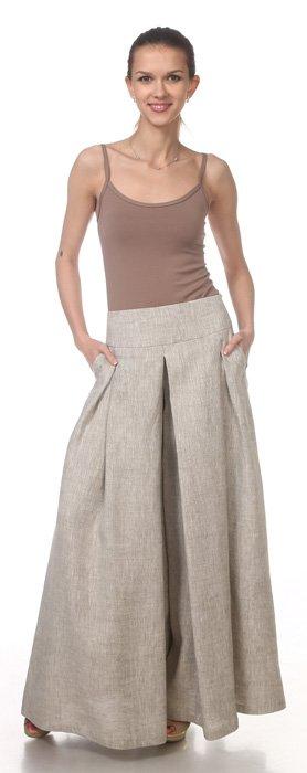 Фото 11 - Юбка-брюки льняная.