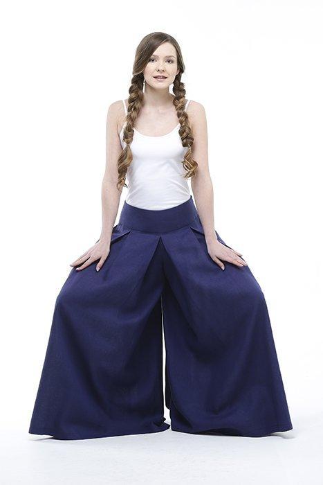 Юбка-брюки льняная
