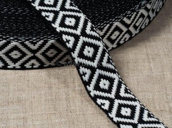 Фото 3 - Лента отделочна жаккардовая белый с черным 23 мм.