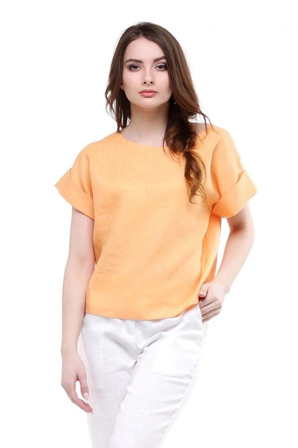 Фото 7 - Блуза льняная с отворотами.