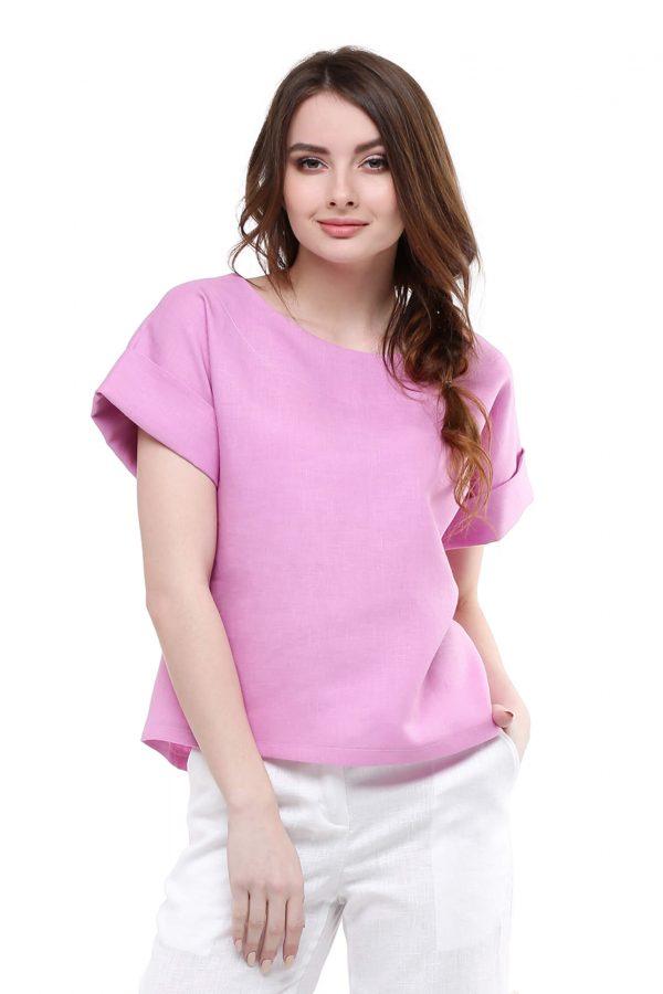 Фото 15 - Блуза льняная с отворотами.