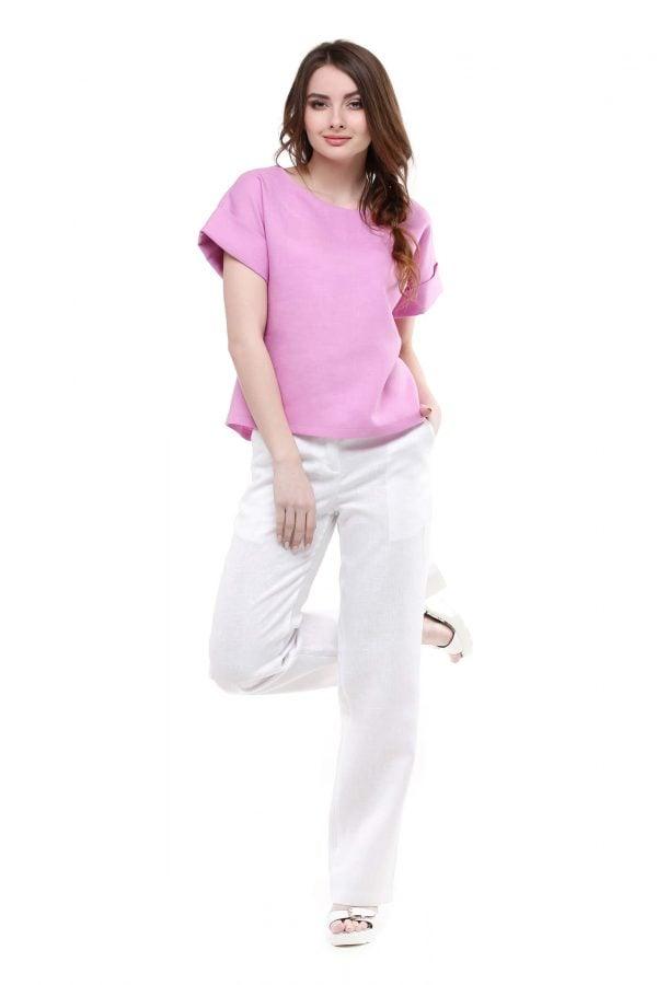 Фото 13 - Блуза льняная с отворотами.