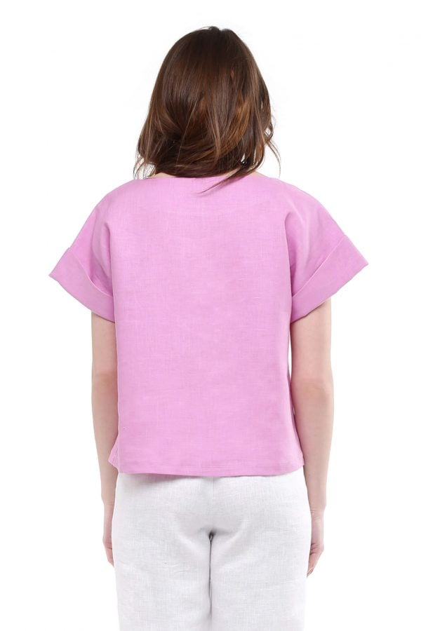 Фото 16 - Блуза льняная с отворотами.