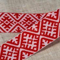 Лента отделочна жаккардовая белый с красным 23мм