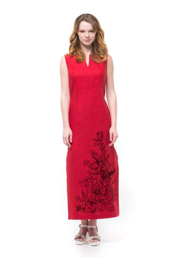 Платье льняное длинное