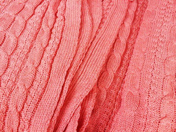 Плед вязаный, хлопок 100% цвет коралл