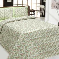 """Фото 4 - Комплект постельного белья льняной """"Цветы"""" цвет зеленый с розовым 2сп."""