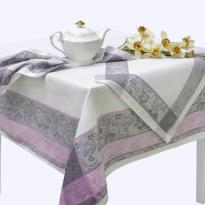 """Фото 5 - Комплект столовый """"Ажурный"""" цв. серый с розовым 150*150."""