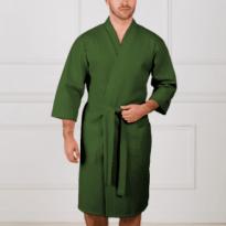 Фото 13 - Мужской укороченный вафельный халат с планкой.