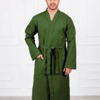 Фото 9 - Мужской вафельный халат с планкой.