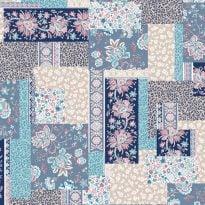 """Фото 11 - Перкаль """"Лоскутная мозаика""""  ширина 2.20 м синяя."""