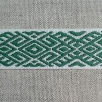 Фото 3 - ЛЕНТА ОТДЕЛОЧНАЯ ЖАККАРД белый с зеленым 22мм.